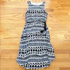 LOFT Black & Cream Ikat Print Dress